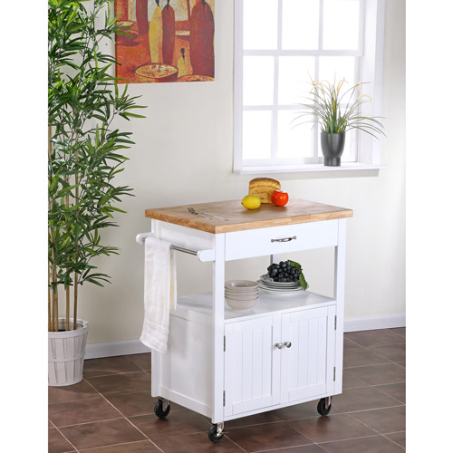 Kitchen Cart with Butcher Block Top, White