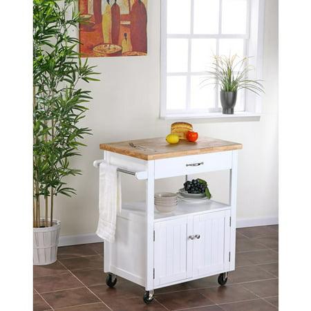 Dorel Home Kitchen Cart with Butcher Block Top, White - Walmart.com