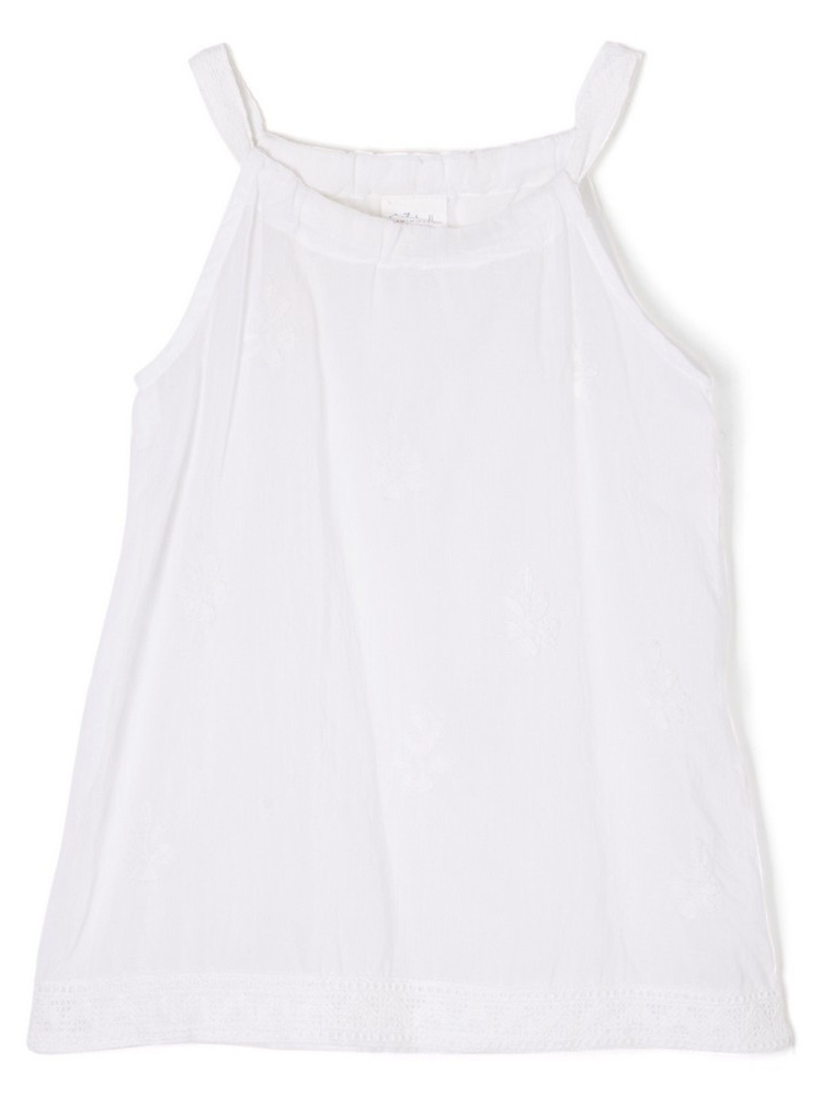 Azul Girls White Solid Color Renaissance Sleeveless Cover-Up Tunic