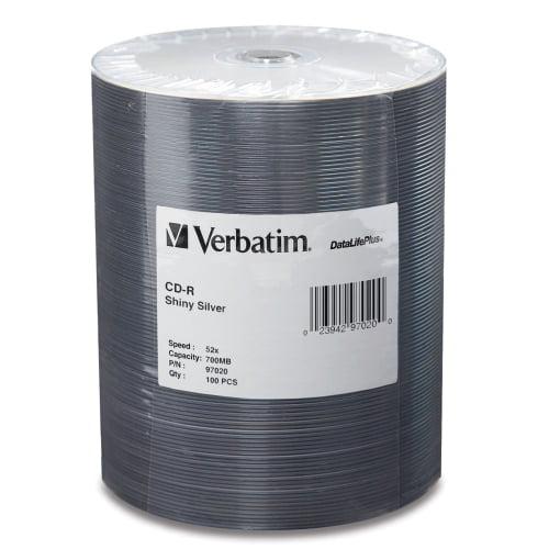 Verbatim CD-R 80 min/700MB 52x DataLifePlus Shiny Silver Wrap, 100pk