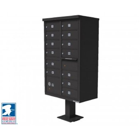 QualArc CBU-13-BZ 72 x 42 x 30 in. 1570 12 Door Cluster Box Unit for Tall Pedestal Stucco Columns, Bronze 1570 Cluster Box Unit