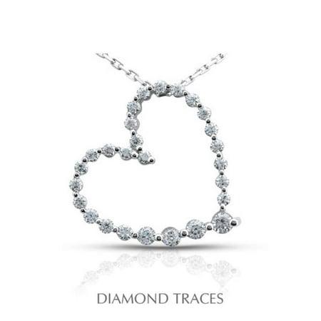 Diamond Traces 0.89 Carat Total Natural Diamonds 18K White Gold Prong Setting Heart Shape Fashion Pendant - image 1 de 1