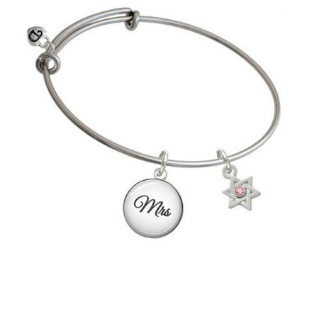Mini Star Of David With Pink Crystal   Mrs Glass Dome Bangle Bracelet