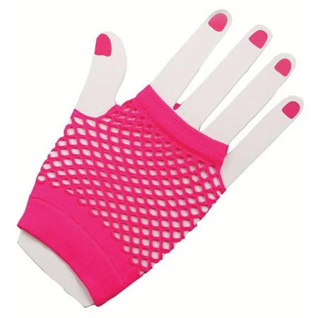 Fuschia Fingerless Mesh Gloves