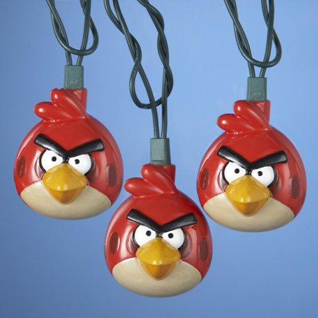 Lot de 10 red angry birds jeu les lumi res de no l fil vert - Angry birds noel ...