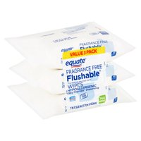 Equate Fragrance Free Flushable Wipes Value Pack, 48 count, 3 pack