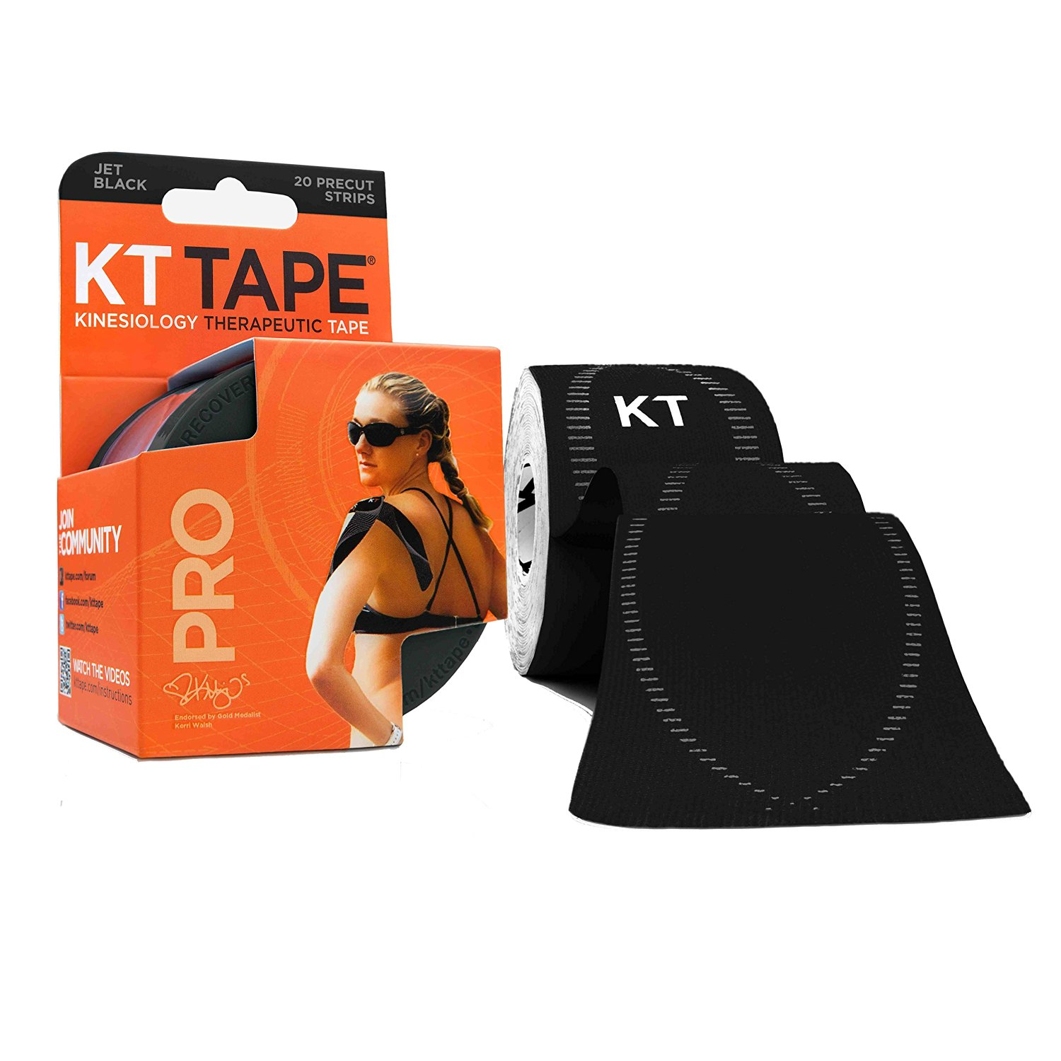 "Pro Extreme Therapeutic Elastic Kinesiology Tape (20 Pre-Cut), 10"", Black, Specially formulated extra-strength adhesive for extreme conditions: water activities,.., By KT Tape"