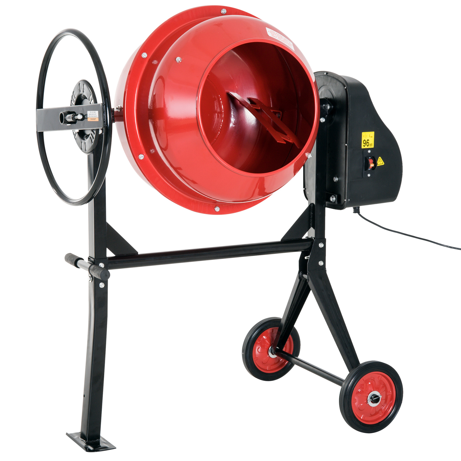DURHAND 4.4Cu Ft 3 4HP Portable Electric Cement Concrete Mixer Red Black by Aosom LLC