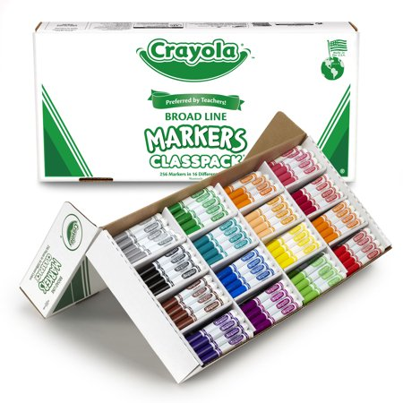 (Crayola Non-Washable Classpack Markers, Broad Point, 16 Classic Colors, Pack of 256)