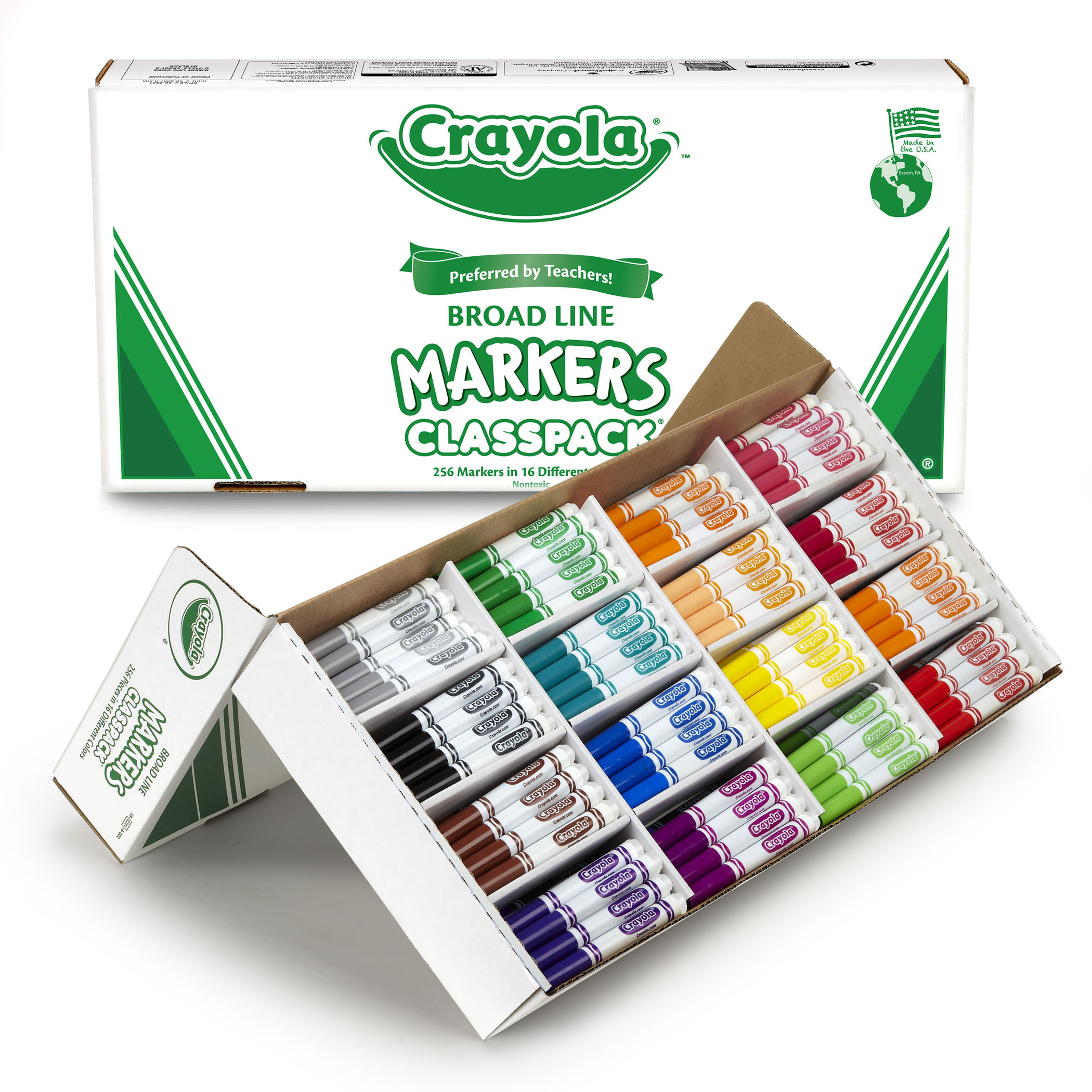 Crayola Non-Washable Classpack Markers, Broad Point, 16 Classic Colors, Pack Of 256