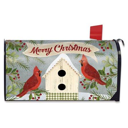 Christmas Cardinal Birdhouse Large Mailbox Cover Primitive Oversized ()