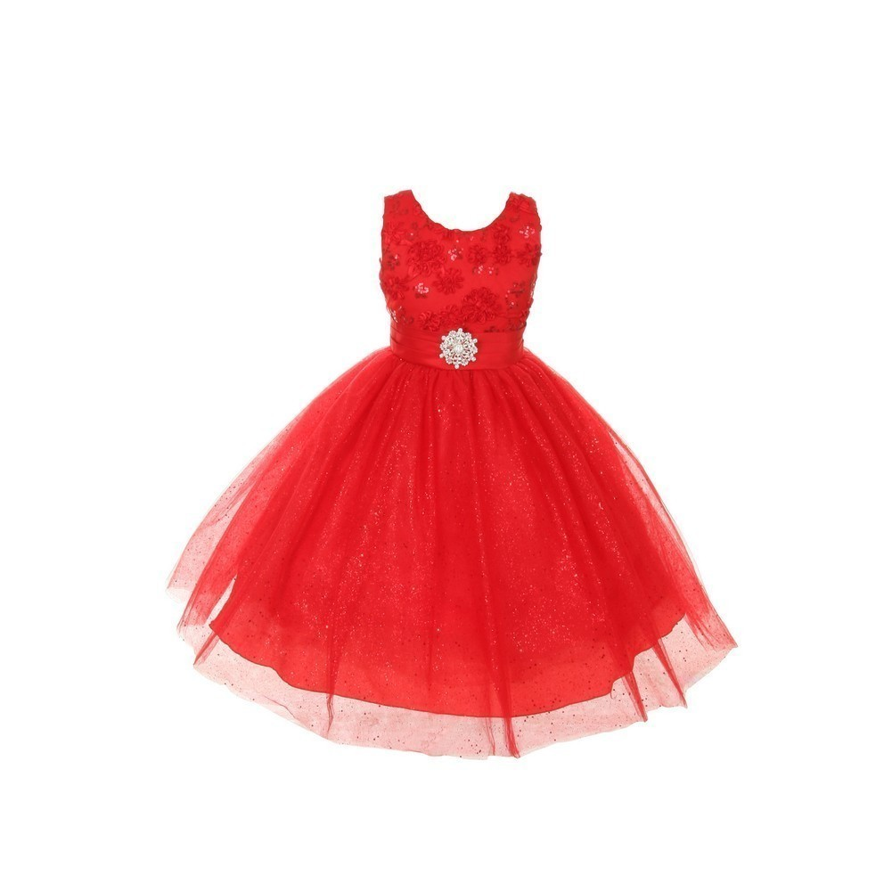 Rain Kids Girls Red Sparkly Tulle Special Occasion Dress 14