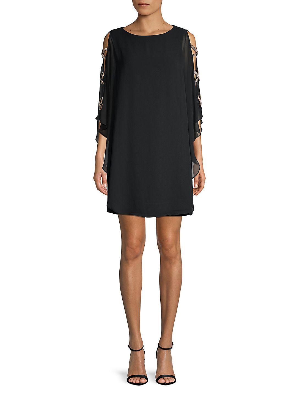 Ruffle Cape-Sleeve Mini Dress