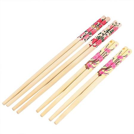 Wooden Flower Pattern Chinese Style Wedding Gift Dinner Chopsticks Beige 4 - Wooden Chopsticks