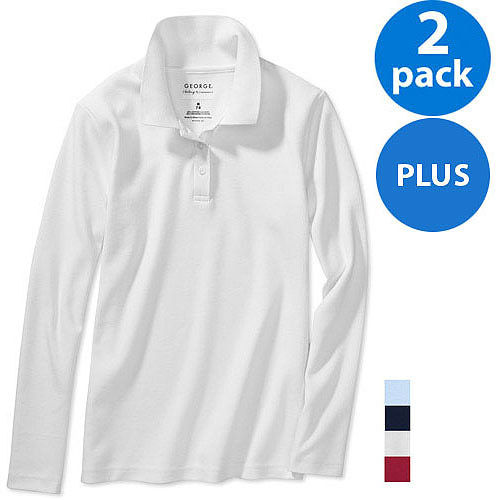 George Girls Plus School Uniforms Long-Sleeve Polo Shirts w Scotchgard, 2-Pack Value Bundle