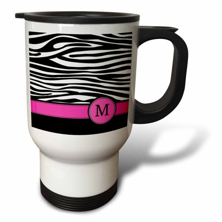 3dRose Letter M monogrammed black and white zebra stripes animal print with hot pink personalized initial, Travel Mug, 14oz, Stainless Steel - Personalized Photo Travel Mugs