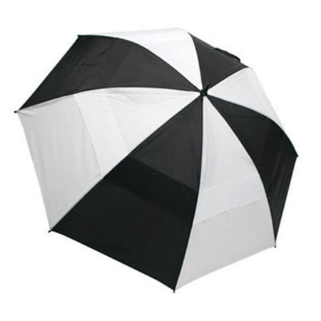 """62"""" Wind-Cheater Vented Double Canopy Windproof Golf Umbrella (Black/White)"""
