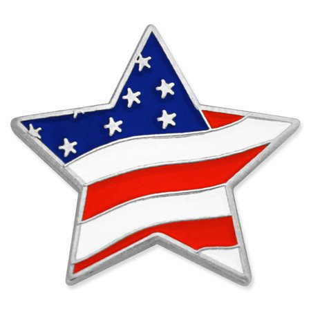 PinMart's Star Shaped American Flag  Patriotic Lapel Pin