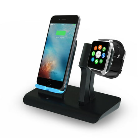 2 IN 1 Wireless Fast Charger Charging Pad Stand - iWatch Charging Holder for Apple Watch Series 4/3/2/1 - Nightlight Mode Available, Qi Wireless Charging Station Dock for iPhone X/iPhone XS/Galaxy