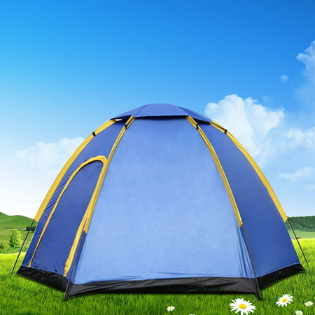 3-4 Person Camping Tents Easy Pop Up, Waterproof Double Layer,Quick Setup Family Beach Dome Tent UV Protection with Carry Bag for Hiking Picnic Backpacking