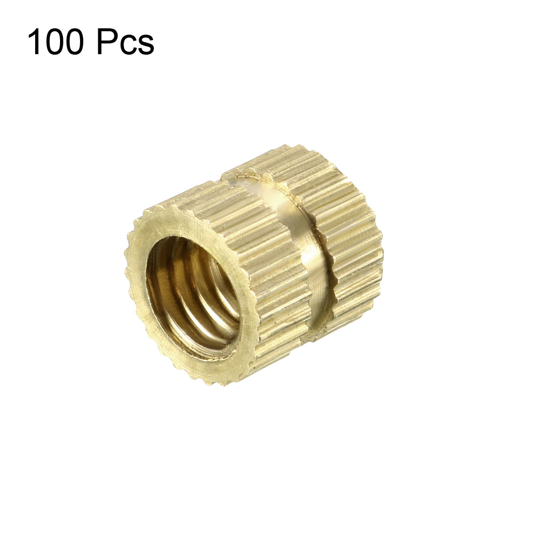 M6 x 8mm(L) x 8.5mm(OD) Brass Knurled Threaded Insert Embedment Nuts, 100 Pcs - image 2 de 3