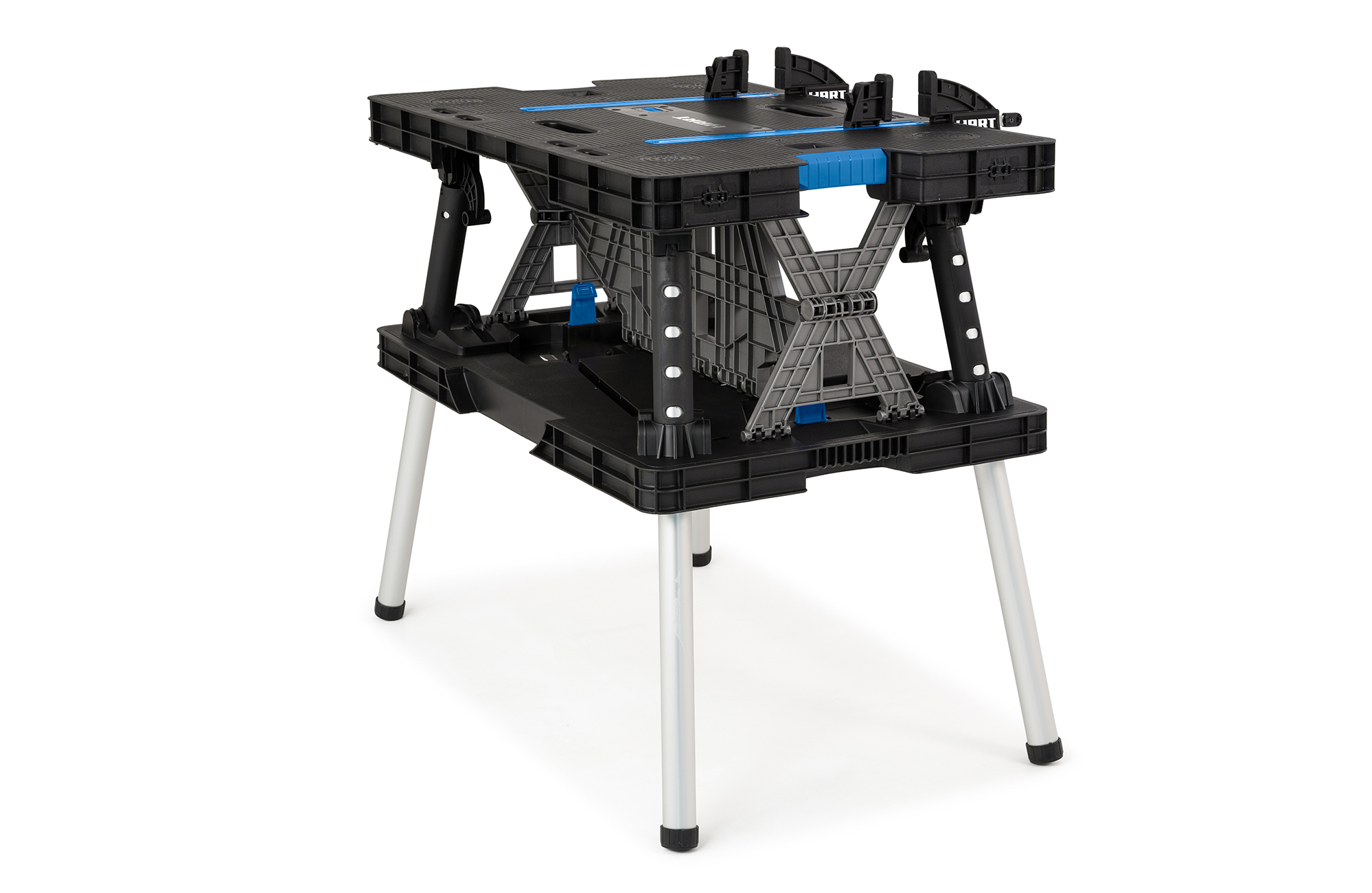 Hart Folding Work Table With Fixed Legs Resin Workbench Black With Blue Walmart Com Walmart Com
