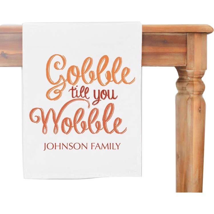 Gobble Till You Wobble Personalized Table Runner