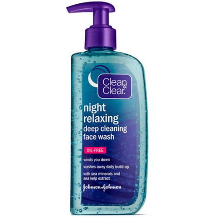 Clean & Clear Night Relaxing Deep Cleaning Face Wash Oil Free, 8 oz (Pack of