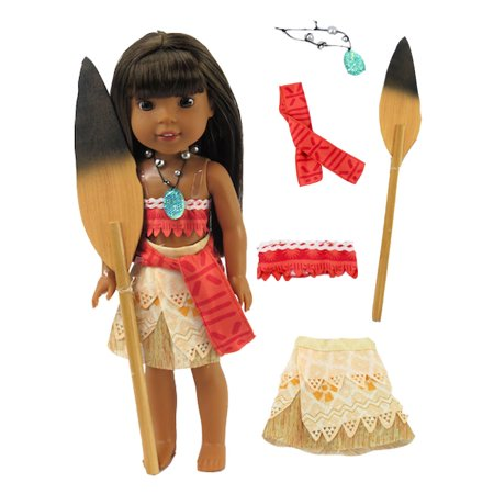 Moana Inspired Polynesian Princess Outfit -Fits 14 Inch Wellie Wisher Dolls | 14 Inch Doll Clothing - Princess Jasmine Inspired Outfit