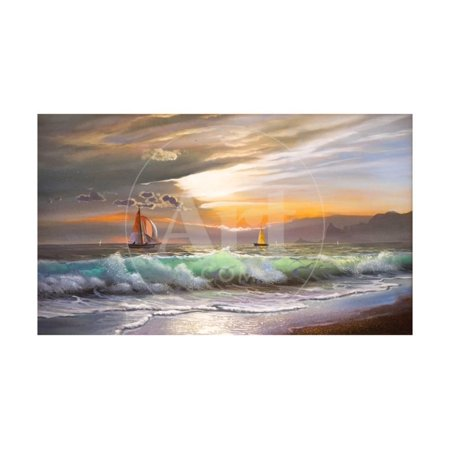 Oil Painting On Canvas , Sailboat Against A Background Of Sea Sunset Ocean Coast Painting Print Wall Art By Lilun Sea Ray Boat Canvas