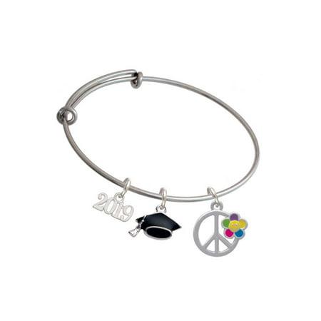 - Silvertone Large Multicolored Daisy on Peace Sign - 2019 Graduation Charm Bangle Bracelet