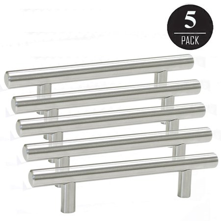 5 Pack Solid Stainless Steel Bar Handle Pull 6 Hole Center Fine
