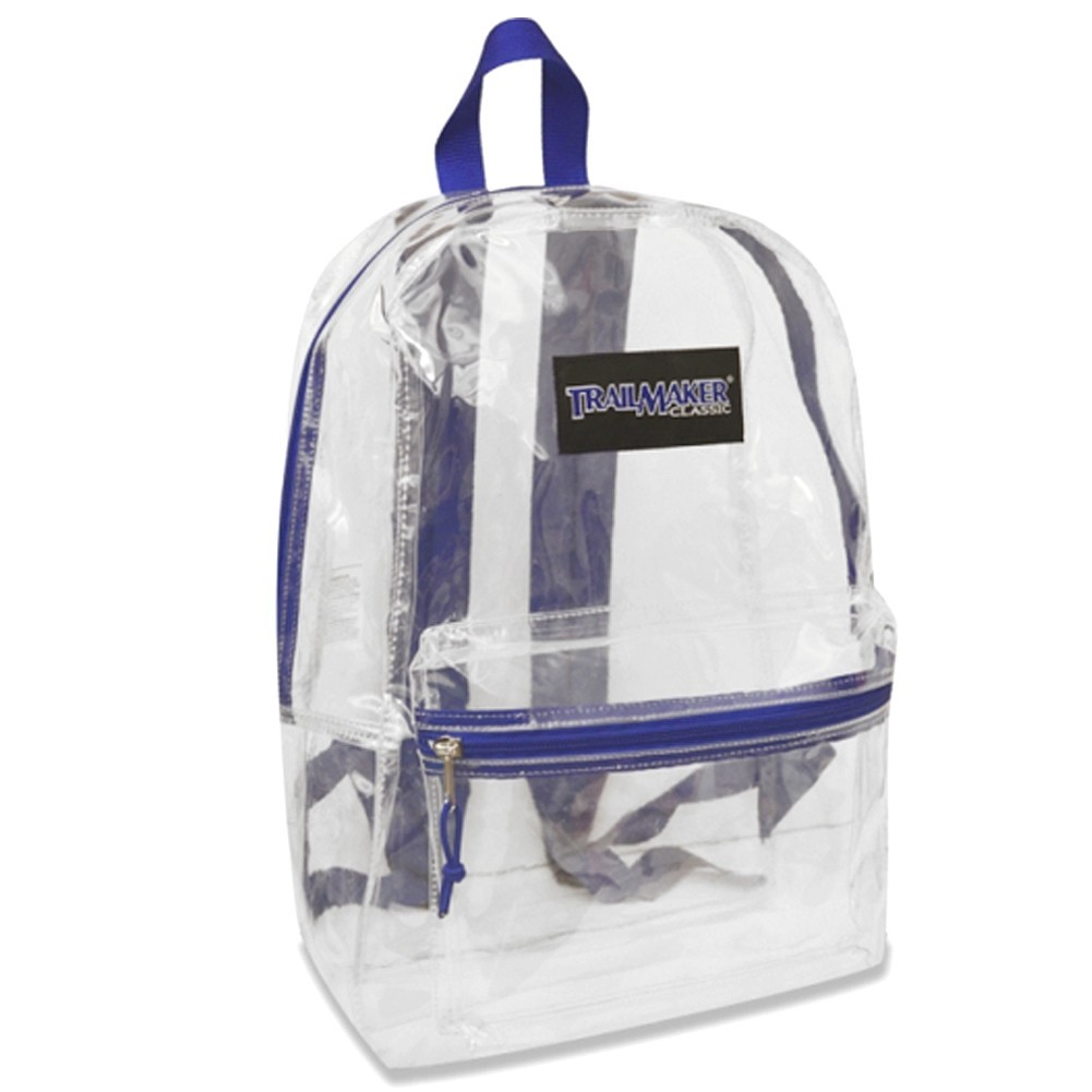 "Trailmaker Girls Blue Padded Straps Classic Clear Backpack 15""x10.6""x5"" by Bags in Bulk"