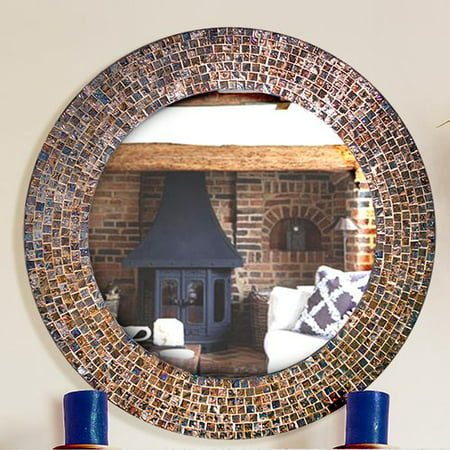 DecorShore Decorative Embossed Glass Mosaic Tile Wall Mirror