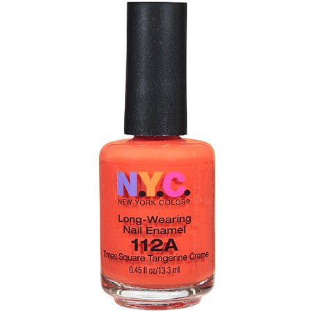 NYC New York Color Long-Wearing Nail Enamel, 112A Times Square Tangerine Creme, 0.45 fl oz
