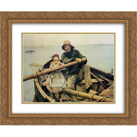 Hand Print Art (The Helping Hand, 1881 2x Matted 22x20 Gold Ornate Framed Art Print by Emile)