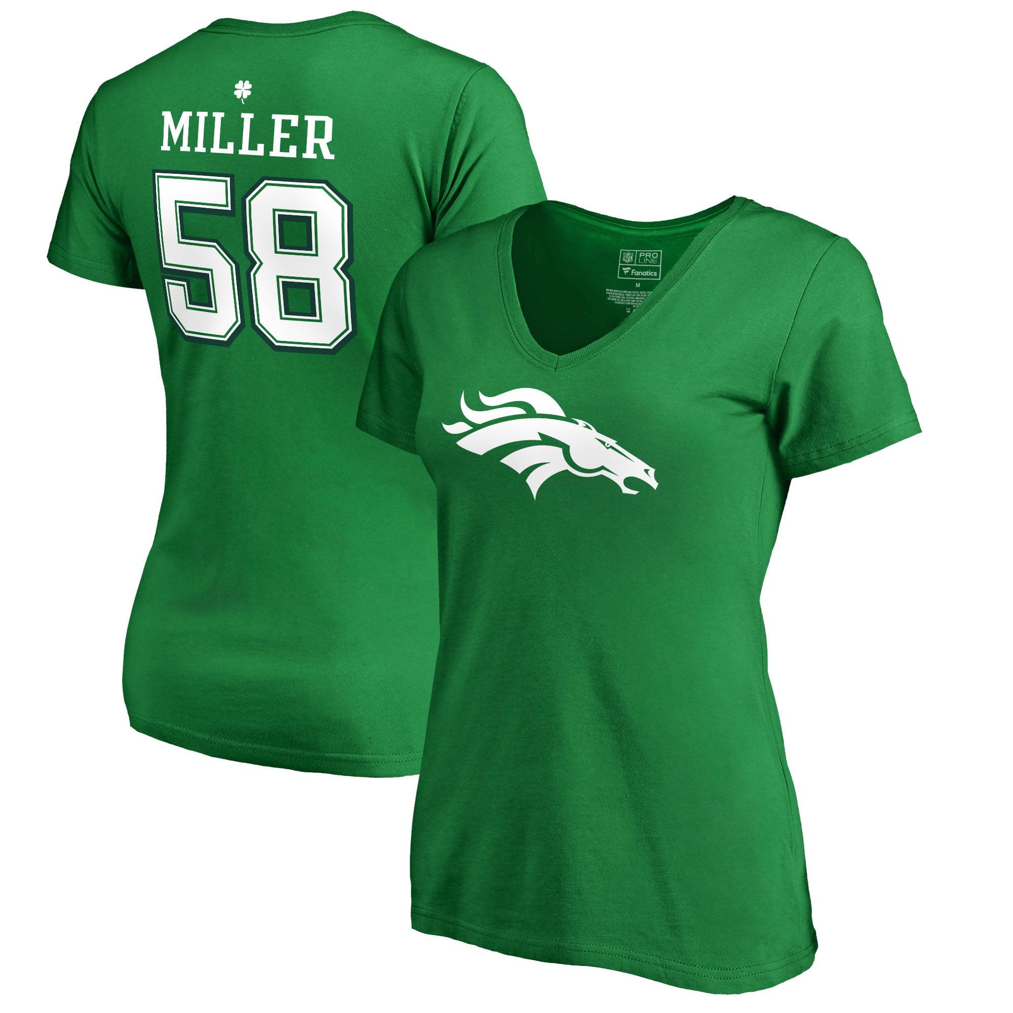 Von Miller Denver Broncos NFL Pro Line by Fanatics Branded Women's St. Patrick's Day Icon V-Neck Name & Number T-Shirt - Kelly Green