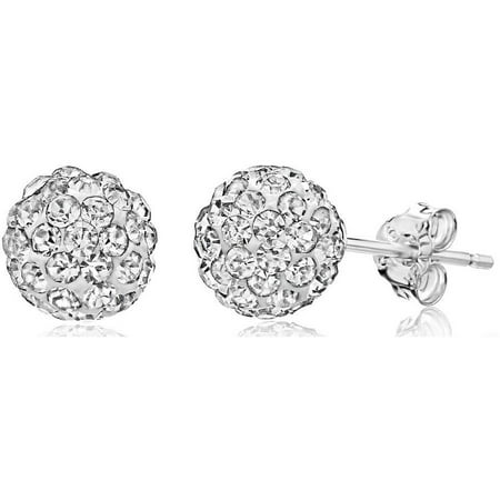 Swarovski Crystal Sterling Earrings (6mm Pave Crystal Sterling Silver Ball Stud Earrings Made with Swarovski)