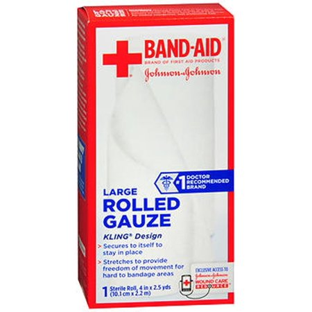 24 PACKS : Johnson & Johnson Red Cross First Aid Rolled Gauze 4