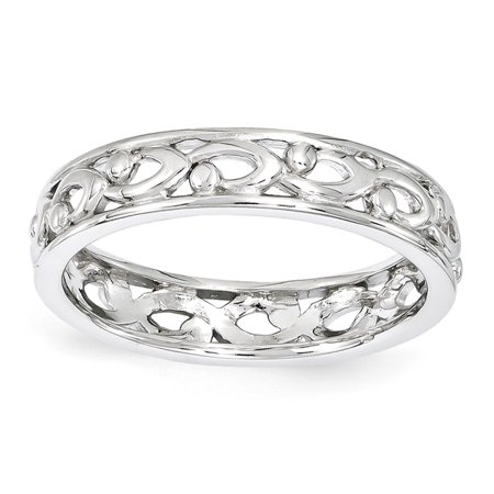 Solid 925 Sterling Silver Stackable Expressions Carved Ring (4.3mm) - Size 10