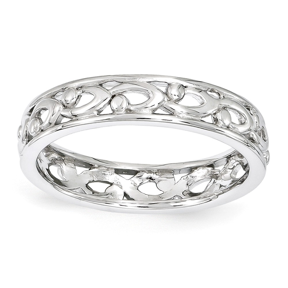 Sterling Silver Stackable Expressions Carved Ring Size-6