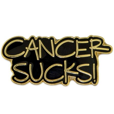 PinMart's Gold Plated CANCER SUCKS! Awareness Enamel Lapel Pin - Cancer Sucks Bracelets