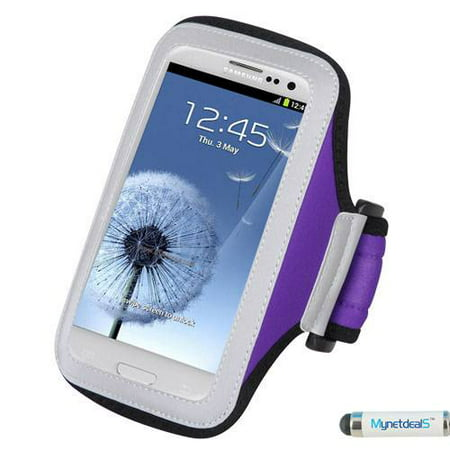 Premium Sports Armband Case for Samsung Galaxy S9, Mega 2, Note 4, Note 3,  i527 Mega, Note 9, A7 2018, S9+, S8 Active, C7 Pro, S7 Plus - Purple + MND