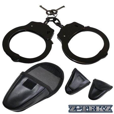 Z-TekZ Police Edition Handcuffs - Double Lock Professional Law Enforcement Black Steel Hand Cuffs w/Two Keys & Tactical Soft Leather Cuff Case Pouch w/ Belt Holster, Hook & Loop Closure, - Mexican Loop Holster