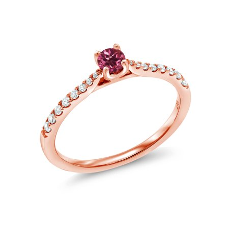 10K Rose Gold 0.23 Ct Round Pink Tourmaline G/H Lab Grown Diamond Solitaire Ring