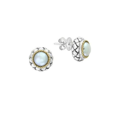 925 Sterling Silver 18K Yellow Gold Freshwater Pearl Stud Earrings 18k Pearl Stud