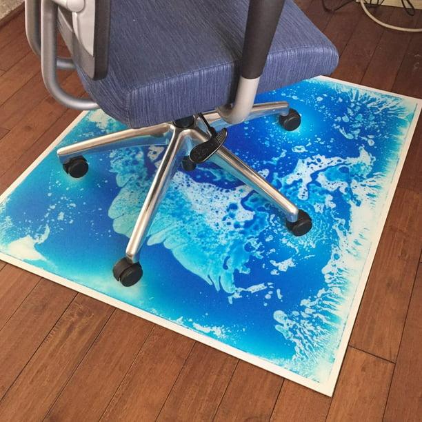 Office Chair Mat For Hardwood And Tile Floor Blue Liquid Encased
