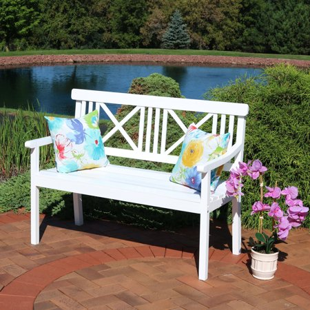 Sunnydaze 2-Person Outdoor Wooden Garden Bench with X-Back Design, 47-Inch, White ()