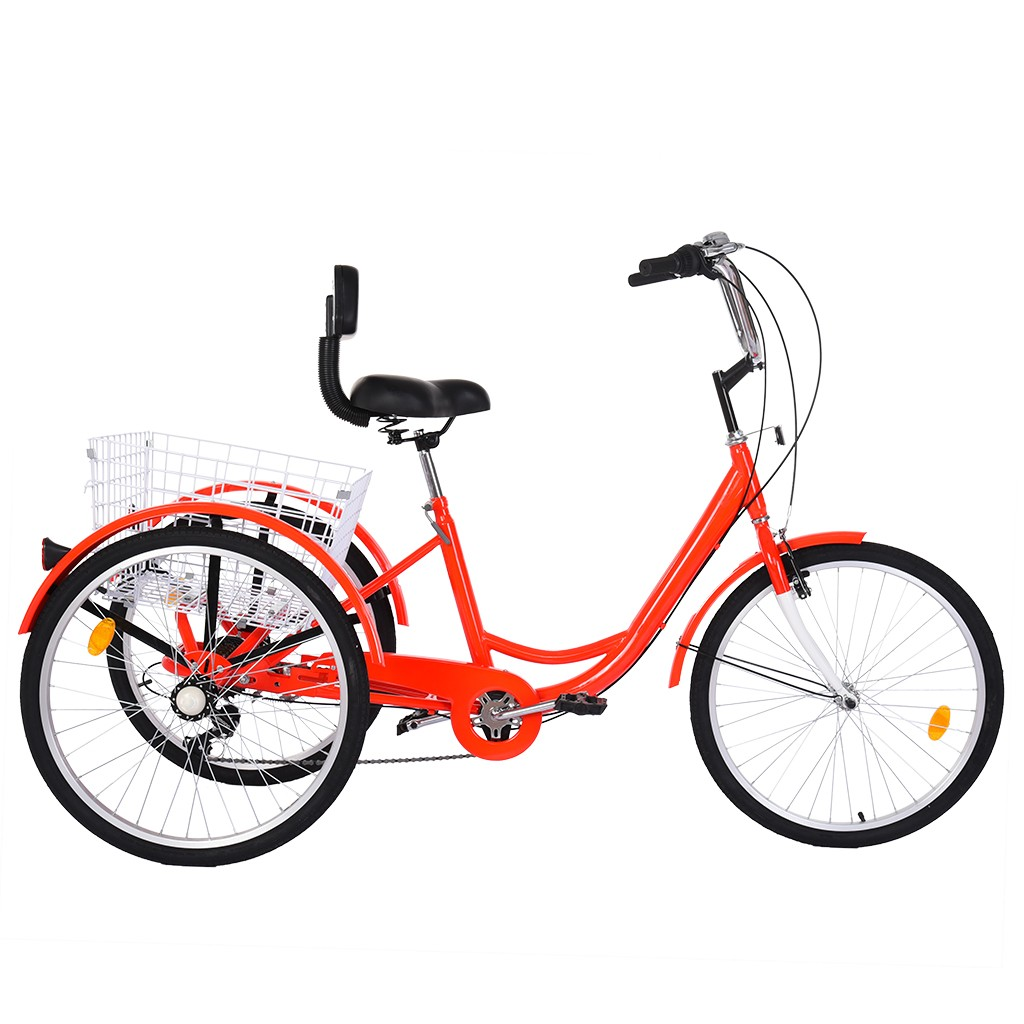Details about  /Foldable Tricycle Adult 24/'/' Wheels Tricycle 7-Speed 3 Wheel Bikes For Shooping