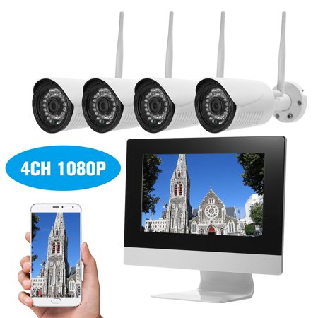 """4 Channel HD 1080P Wireless WiFi NVR Kit 10.1"""" Network Video Recorder + 4pcs 720P WiFi IP Camera Support Onvif IR Night Vision Phone Control Motion Detection Remote Channel Vision Network Hub"""